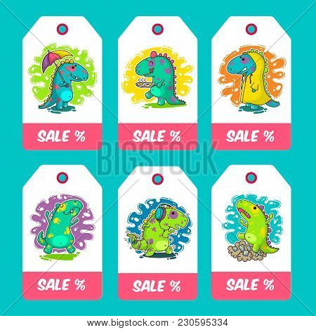 Cool Dino Doodle Vector Cards