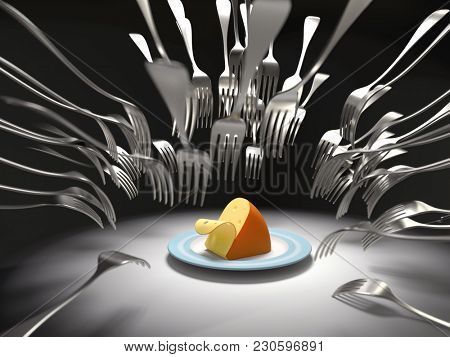 competitive fight, forks attack a cheese, 3d illustration