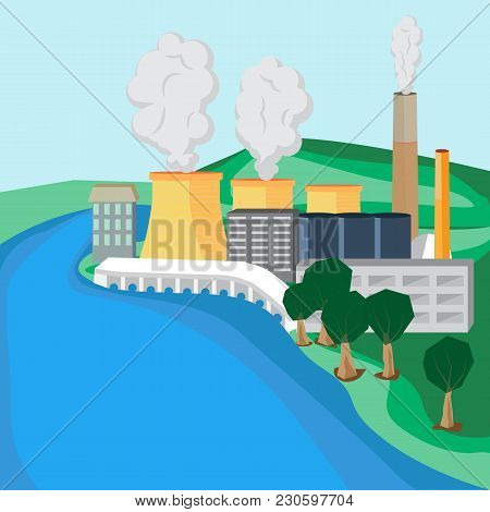 Vector Illustration Of A Nuclear Power Plant On The River Bank. Atomic Substation In A Flat Isotherm
