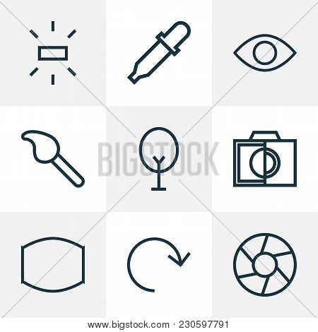 Image Icons Line Style Set With Monitor, Refresh, Focus And Other Brush Elements. Isolated Vector Il