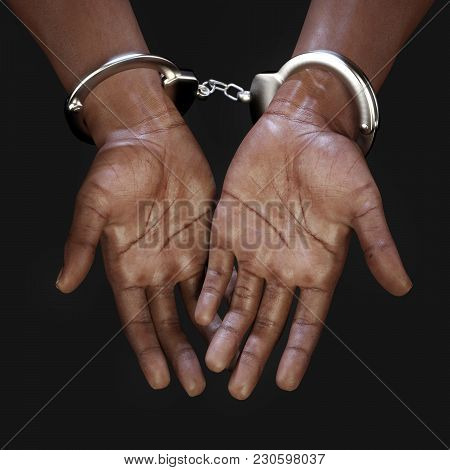 African Hands With Handcuffs - 3d Rendering
