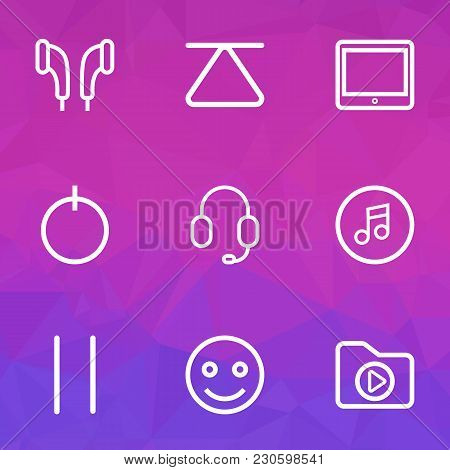 Multimedia Icons Line Style Set With Top, Emoji, Earmuff And Other Eject Elements. Isolated  Illustr