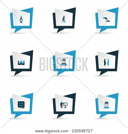Holiday Icons Colored Set With Menu, God's House, Financial Assistance And Other Namaz Place.. Eleme
