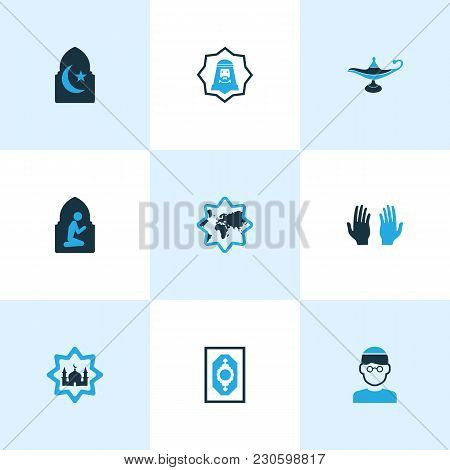 Religion Icons Colored Set With Namaz Room, Pray, Human And Other World Elements. Isolated  Illustra