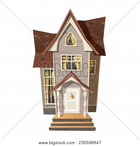 Vector Illustration Of Old Victorian Style House Isolated On White.