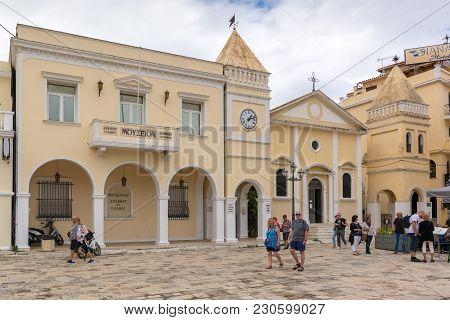 Zakynthos, Greece - September 29, 2017: Tourist Visit Saint Mark's Square In Zante Town. Zakynthos I