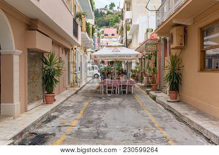Zakynthos, Greece - September 29, 2017: Narrow Street With Restaurant In Zante Town. Zakynthos Islan