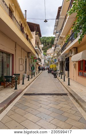 Zakynthos, Greece - September 29, 2017: Narrow Street In Zante Town. Zakynthos Island, Greece