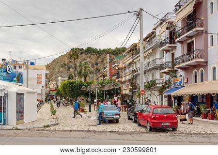 Zakynthos, Greece - September 29, 2017: Traditional Greek Style Architecture On Street In Zante Town
