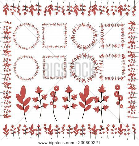 Twigs With Red Flowers Ringlets Leaves, Frames And Curbs Isolated On White Background