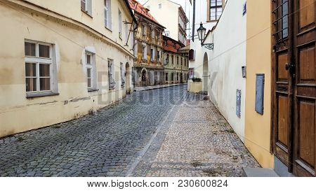 View On The Narrow Cobblestoned Street In Prague, Czech Republic.