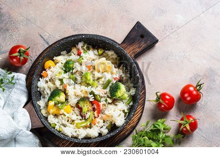 Vegetable Risotto. Rice With Broccoli, Cauliflower, Sweet Pepper And Carrots. Vegetarian Dish. Top V