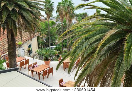 Balcony With Lush Mediterranean Plants And Wooden Garden Tables And Chairs - High Angle Shot
