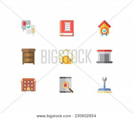 Building Icons Set. Garage And Building Icons With Checking, Furniture And Residential Area. Set Of