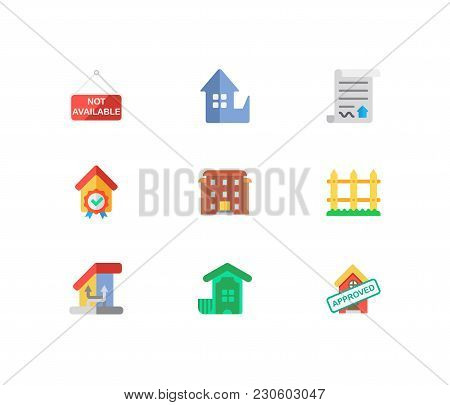 Real Estate Icons Set. Fence And Real Estate Icons With House Not Available, Residential Area And Ho