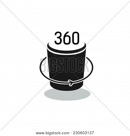 Three Hundred And Sixty Lettering On Cylinder. Full Rotation Sign. Typed Text, Calligraphy. For Post