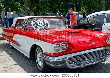 Kharkiv, Ukraine - May 28, 2017: Retro Car Ford Thunderbird Manufactured In 1959 Is Presented At The