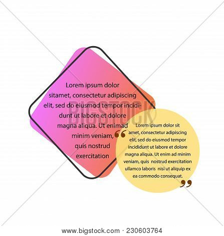 Text In Square Box And Quote In Circle. Quote Design Element. Typed Text, Calligraphy. For Posters,