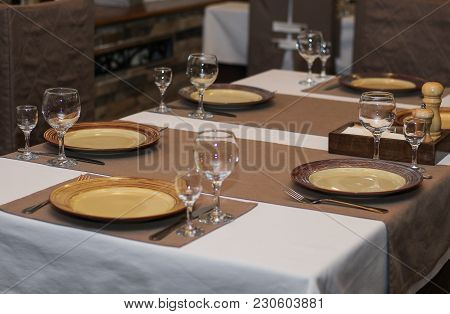 Beautiful Dishes On The Table In Cafe Or Restaurant Close-up