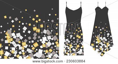 Silver And Gold Rectangulars Seamless Pattern. Underwear Concept. Horizontally Seamless. Vector Illu