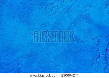 Modern Abstract Painted Bright Blue Street Stone Wall