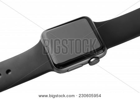February 2018. Apple Watch Series 3 On A White Background. A New Watch From An Apple Company Close-u