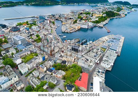 Aksla at the city of Alesund , Norway Aerial footage. It is a sea port, and is noted for its concentration of Art Nouveau architecture.