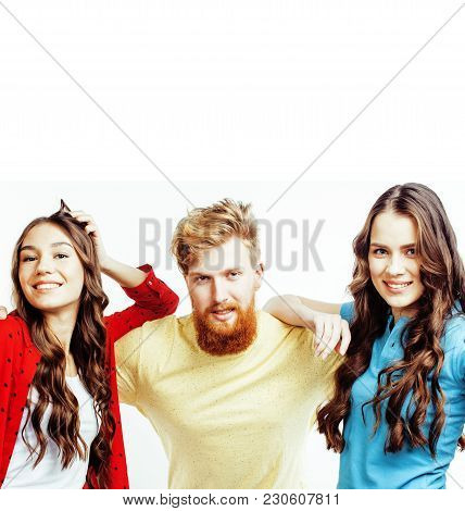 Company Of Hipster Guys, Bearded Red Hair Boy And Girls Students Having Fun Together Friends, Divers