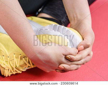 Woman Wearing Sportswear Trainers Shoes