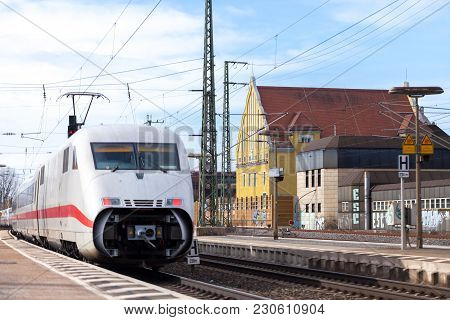 Fuerth / Germany - March 11, 2018: Ice 2, Intercity-express Train From Deutsche Bahn Passes Train St