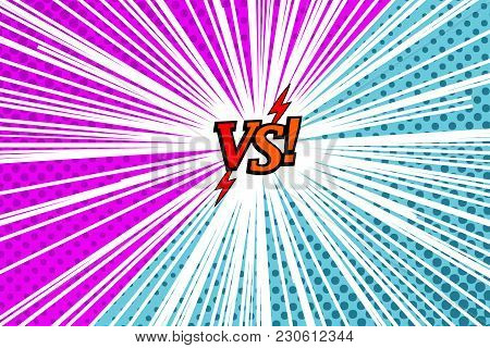 Comic Versus Rivalry Template With Two Opposite Sides, Lightnings, Halftone And Rays Effects In Purp