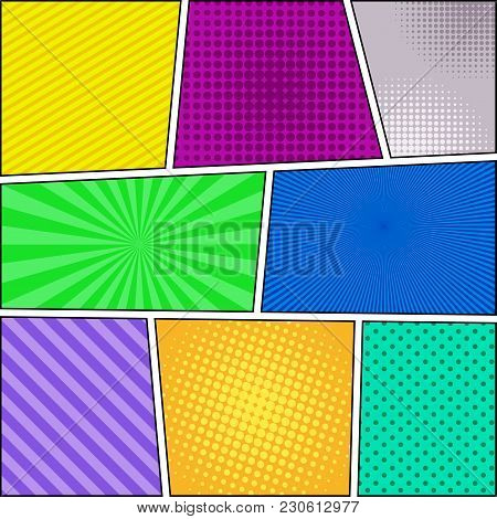 Comic Book Page Background With Halftone Rays Dotted Radial Striped Effects In Different Colors. Vec