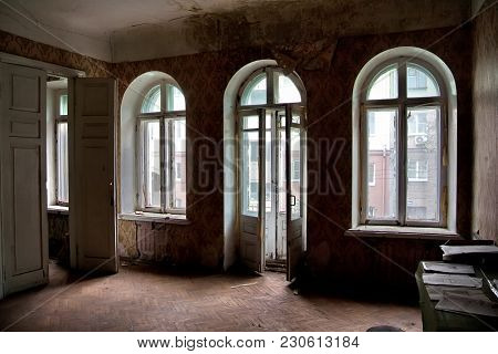 Interior Of Old Ruined Abandoned Mansion In Voronezh, Russia.