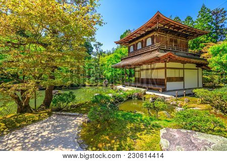 Kannon-hall And Pond In Ginkaku-ji Temple, Spring Season With Blue Sky. Ginkakuji Or Silver Pavilion