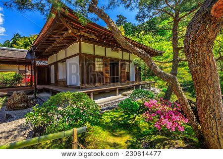 Kannon-hall At Popular Landmark Ginkaku-ji Temple Or Silver Pavilion In Spring Season With Blue Sky.