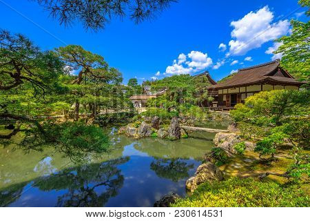 Springtime Landscape Of Pond In Springtime And Architecture Of Silver Pavilion Or Ginkaku-ji Temple.