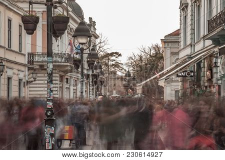 Belgrade, Serbia - March 11, 2018: Kneza Mihailova Street At Dawn, Crowded. Also Known As Knez Mihai