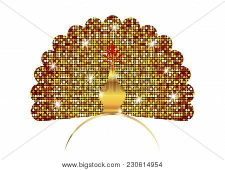 Golden Peacock Icon Silhouette Luxury Tail Decorated. Shiny Logo Design Vector Template Linear Style