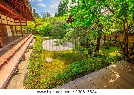 Traditional Zen Garden In A Sunny Day. Eikan-do Temple Or Zenrin-ji Belongs To The Jodo Sect Of Japa