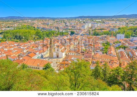 Aerial View Of Tomar Cityscape And Praca Da Republica, The Main Square With Town Hall And Church Of