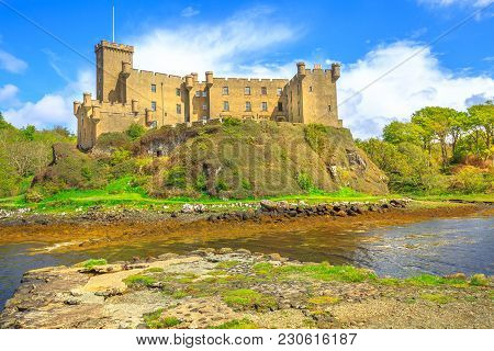 Moat Of Dunvegan Castle And Back Garden With Its Marshy Lake, Located In Dunvegan City Of Isle Of Sk