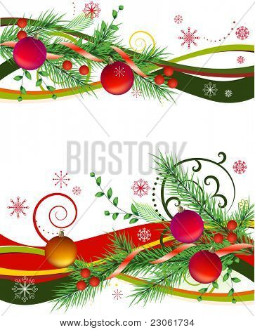 Two horizontal design elements with christmas balls and fir