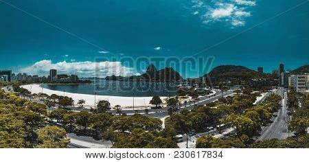 Panoramic View From A High Point: Rio De Janeiro Urban Landscape In The Botafogo District With The B
