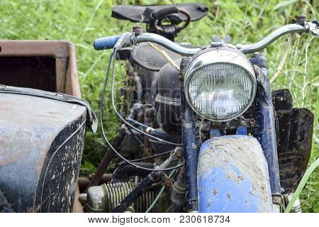 Old Soviet Motorcycle With A Cradle. An Old Moto Technique.