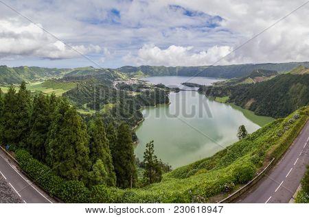 Panoramic image of Sete Cidades lagoon, Sao Miguel Island - Azores