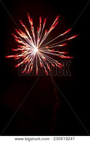 Colorful Fireworks Explosion Display On Festival Celebration Night