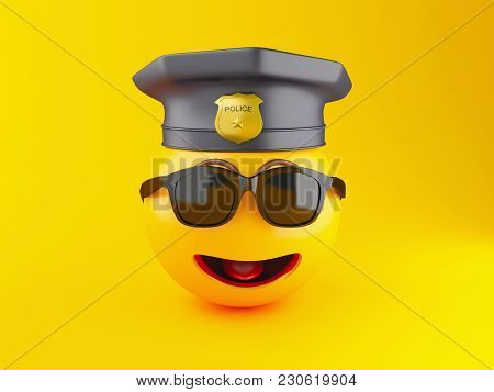 3d Illustration. Policeman Emoji Icons With Police Cap. Social Media Concept.