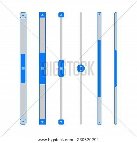 Scroll Bars Set. Web Sliders Template For Website User Interface. Vector Illustration.