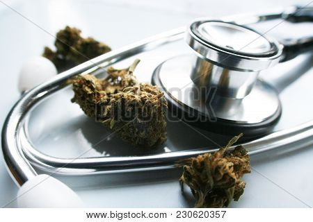 Medical Marijuana With Bud High Quality Stock Photo