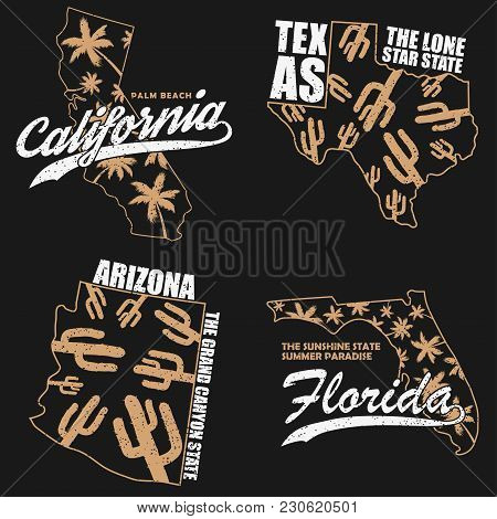 California, Texas, Arizona And Florida Typography Graphics Set For T-shirt, Clothes. Grunge Print Fo